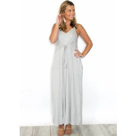HEATHER STRIPED FRONT TIE MAXI DRESS