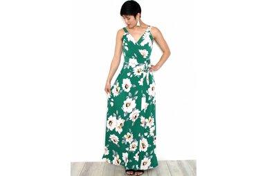 DREW GREEN FLORAL MAXI DRESS