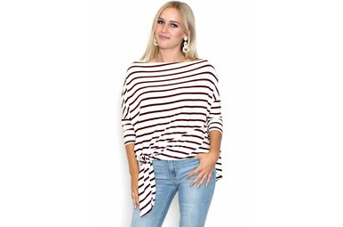 MELANIE STRIPED BOATNECK TOP