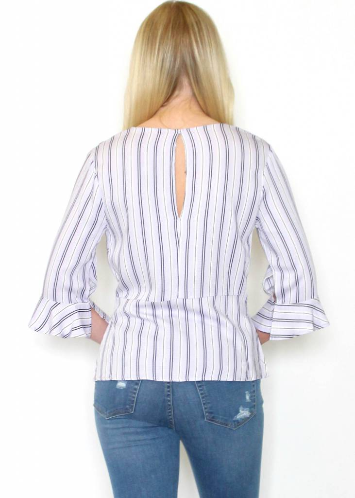 MACEY STRIPED FRONT TIE TOP