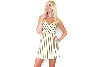 SOPHIA STRIPED WRAP DRESS