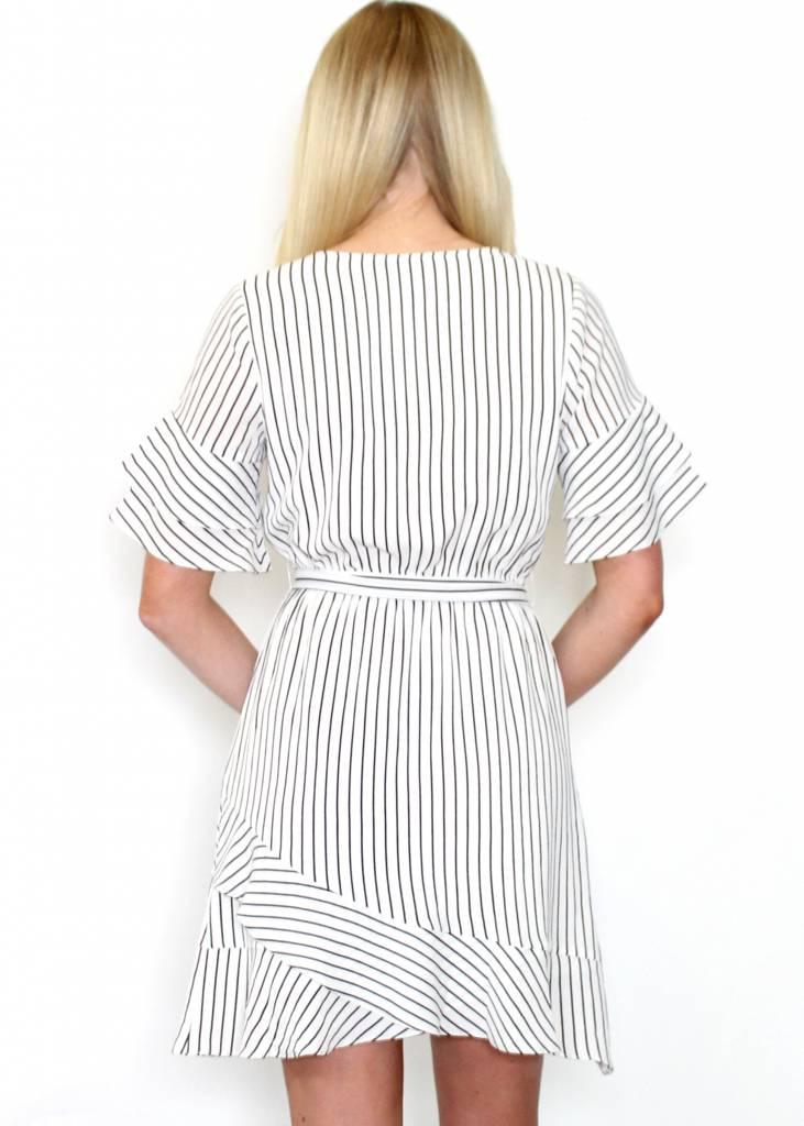 ARIA STRIPED BELL SLEEVE DRESS