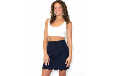 NICOLE NAVY SCALLOPED MINI SKIRT