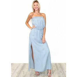 SALEM CHAMBRAY STRAPLESS MAXI DRESS
