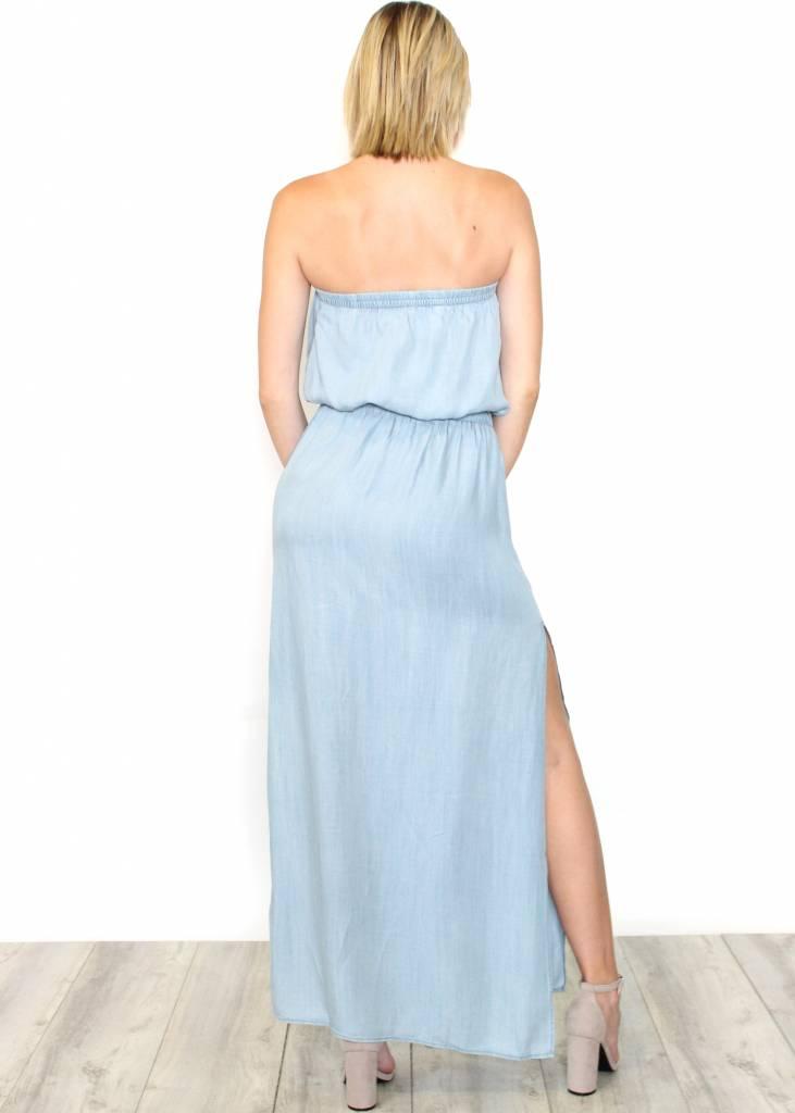 SALEM CHAMBRAY STRAPLESS MAXI DRESS