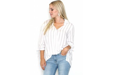 DALLAS STRIPED SURPLICE TOP