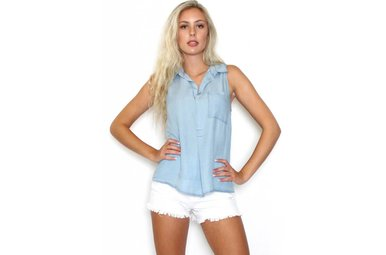 JERSEY CHAMBRAY SLEEVELESS TOP