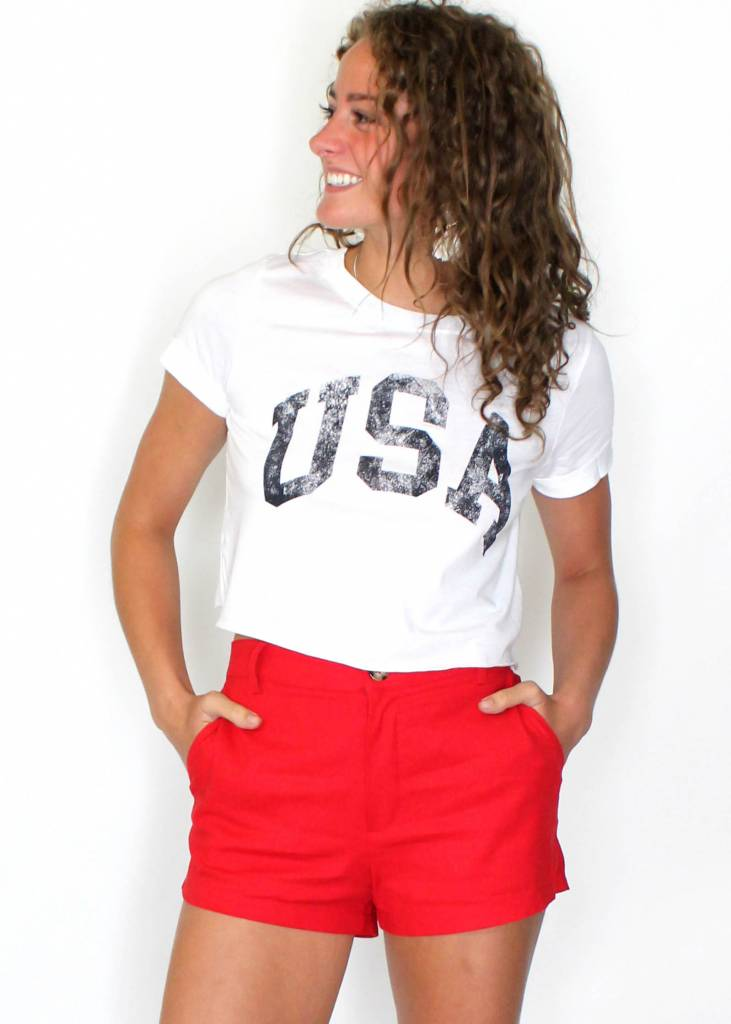 USA SHORT SLEEVE CROP TOP