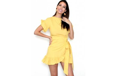 HAPPY DAY YELLOW WRAP DRESS