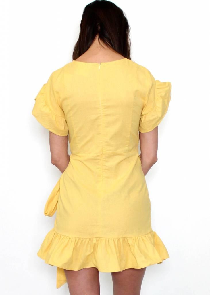 HAPPY DAY YELLOW WRAP DRESS