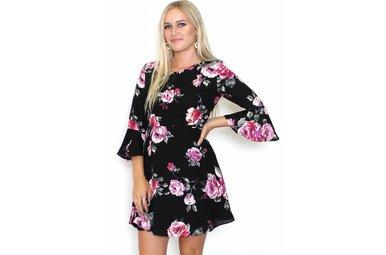 FATIMA BLACK FLORAL DRESS