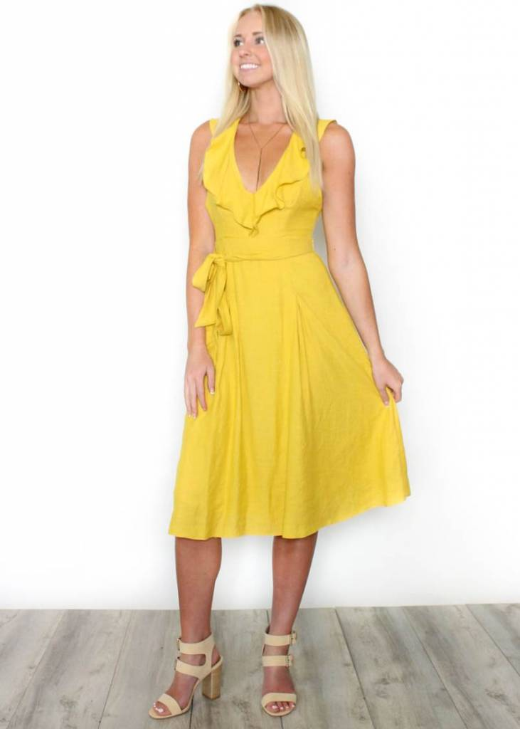 LILA YELLOW RUFFLE DRESS