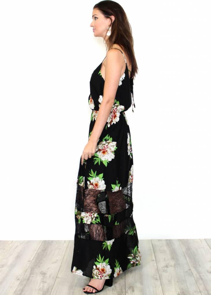 HALEY BLACK FLORAL LACE MAXI DRESS