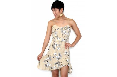 MORGAN TAUPE FLORAL DRESS