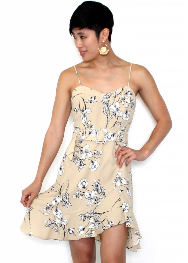 MORGAN TAUPE FLORAL DRESS