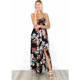 MOANA BLACK FLORAL MAXI DRESS
