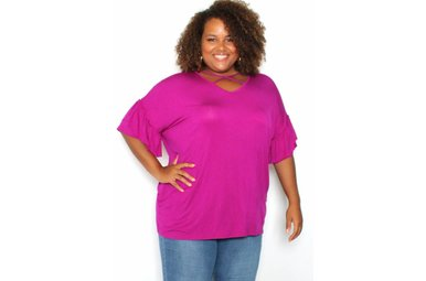 TERRIE FUCHSIA CRISS CROSS TOP