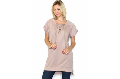 DELANEY BLUSH LACE UP TUNIC