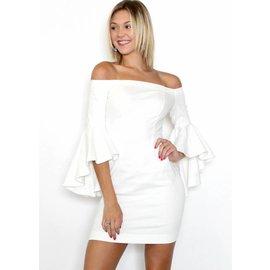 KARMEN WHITE DENIM BELL SLEEVE DRESS