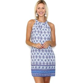 HANNA PRINTED HALTER SHIFT DRESS