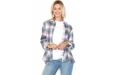 BRANDY PLAID BUTTON UP TOP
