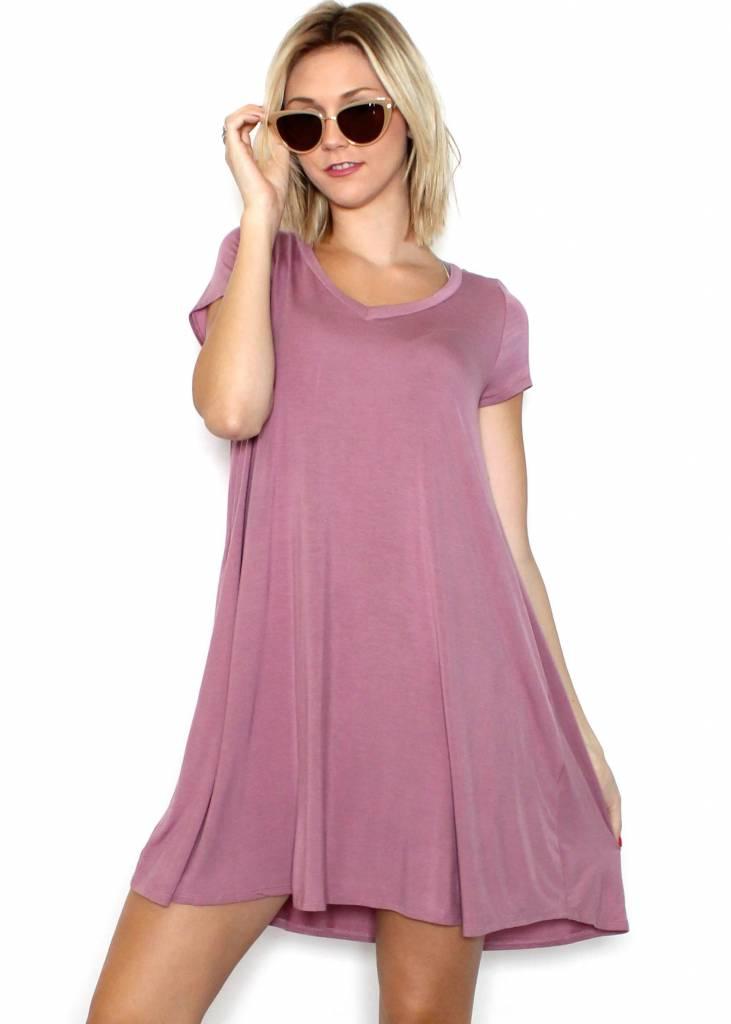 VALARIE V-NECK T-SHIRT DRESS