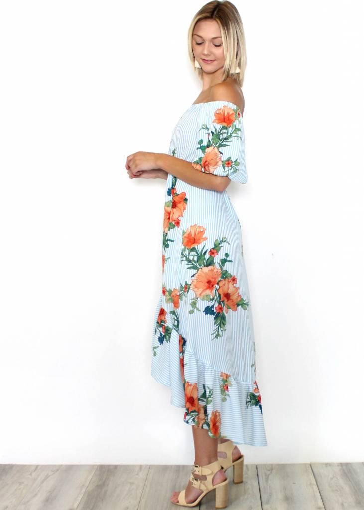 ANA FLORAL STRIPED MAXI DRESS