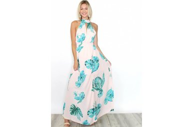 ARIEL PALM PRINT HALTER MAXI DRESS