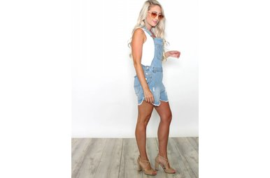 MABEL DISTRESSED OVERALL SHORTS