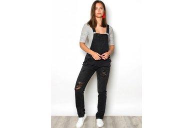 VALARIE BLACK STRAIGHT LEG OVERALLS