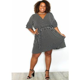 WILLOW STRIPED BELL SLEEVE DRESS