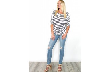 SARAH NAVY STRIPED BOATNECK TOP