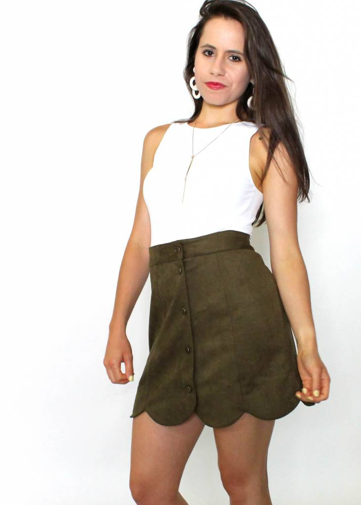 SCOUT OLIVE SCALLOPED SKIRT