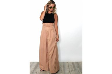 SYDNEY TAUPE WIDE LEG BOTTOMS