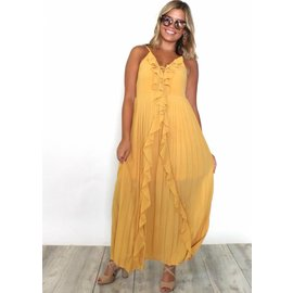 PARADISE RUFFLED PLEATED MAXI DRESS