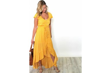 SUNNY STROLL POLKA DOT MAXI DRESS