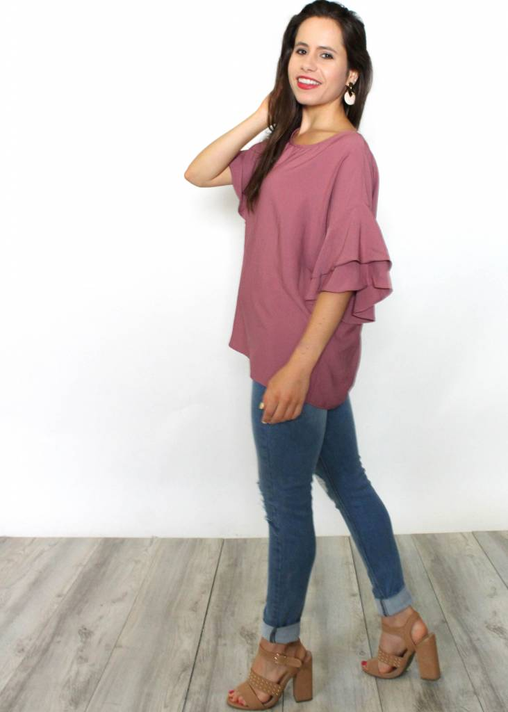 AMBER TIERED BELL SLEEVE BLOUSE