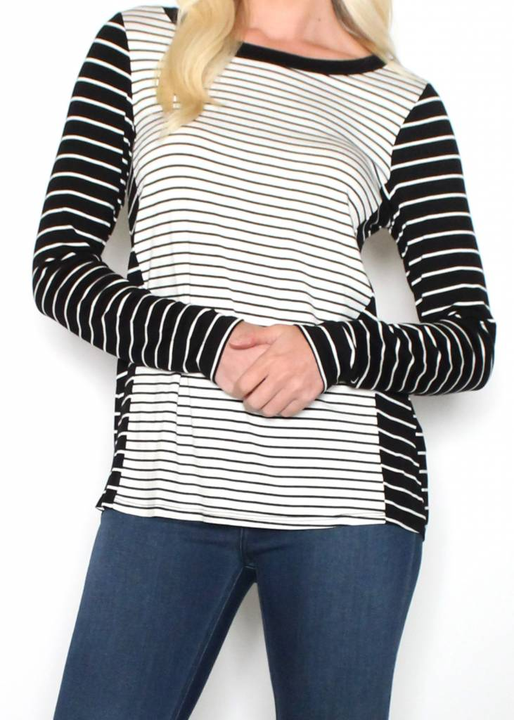 MABEL STRIPED LONG SLEEVE TOP