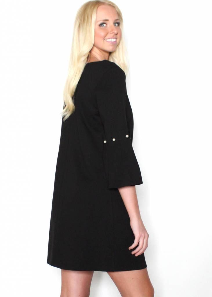 BELLA BLACK BELL SLEEVE DRESS
