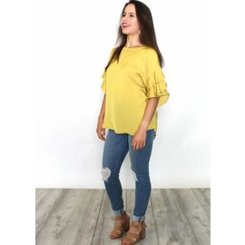 TIRA MUSTARD TIERED BELL SLEEVE BLOUSE