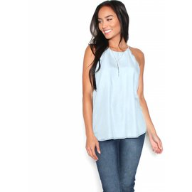 EMILY CHAMBRAY SCALLOPED TANK TOP