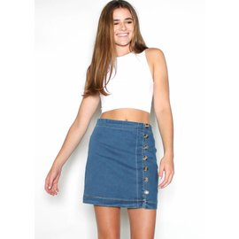 FERN BUTTON UP DENIM MINI SKIRT