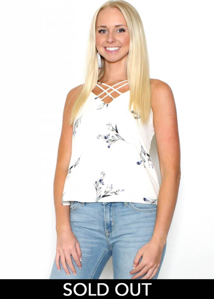 AUBREE FLORAL STRAPPY TANK TOP