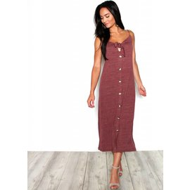 BECCA BURGUNDY MIDI DRESS