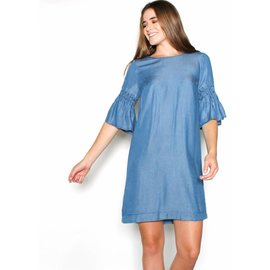 TIA CHAMBRAY BELL SLEEVE SHIFT DRESS