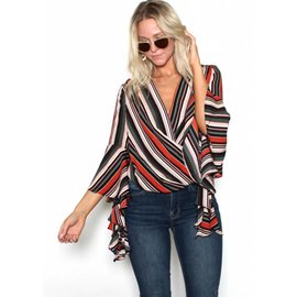 KATE STRIPED BELL SLEEVE BLOUSE
