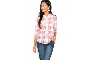 SAWYER EMBROIDERED PLAID BUTTON UP
