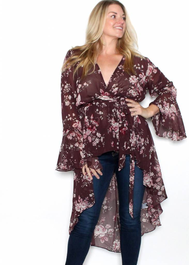 AMBER FLORAL HIGH LOW BLOUSE