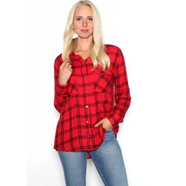 HARPER RED PLAID BUTTON UP
