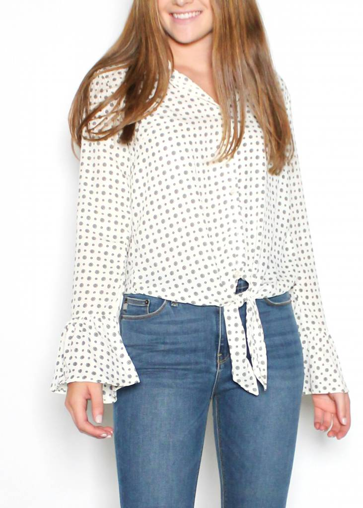 VIOLET PRINTED BUTTON UP BLOUSE